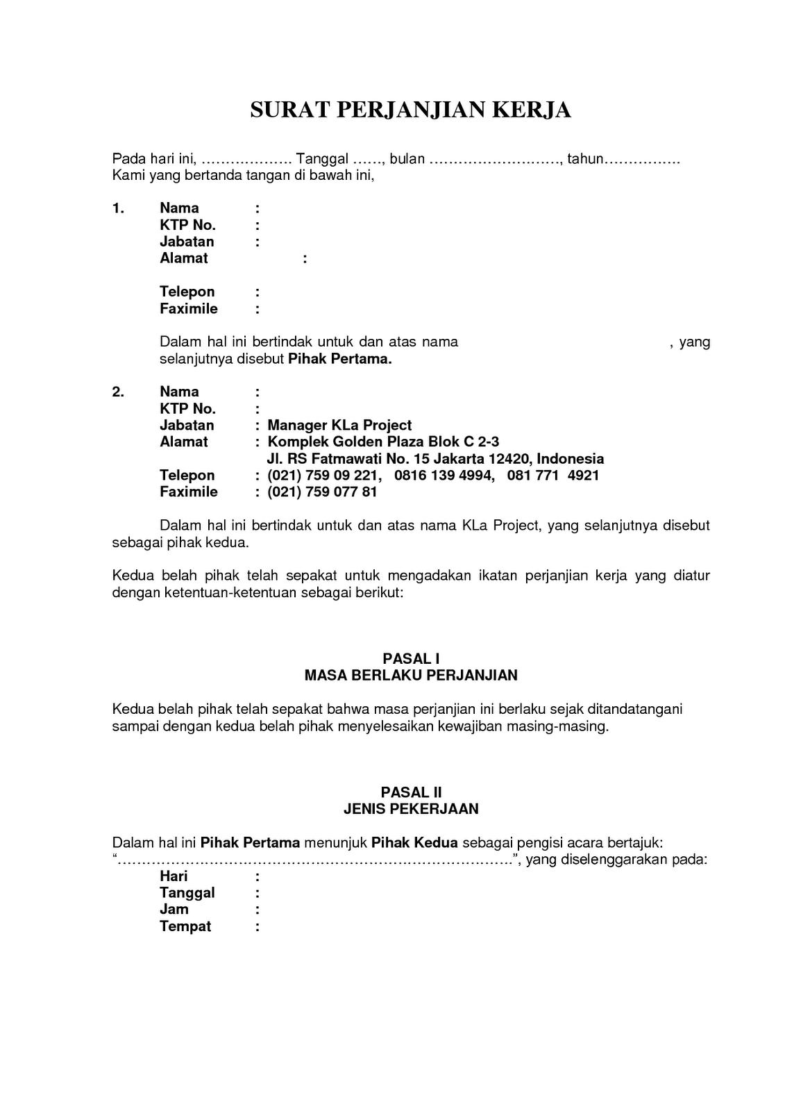 DOC Surat Perjanjian Kerja - Kla Project