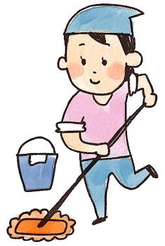 掃除のイラスト「モップがけする女性」