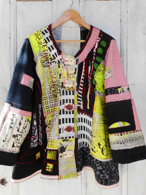 "coat made 2019. Upcycled fabrics, stenciled, free painting, patchwork. The design is my ""Zambeesi"" PDF sewing pattern"