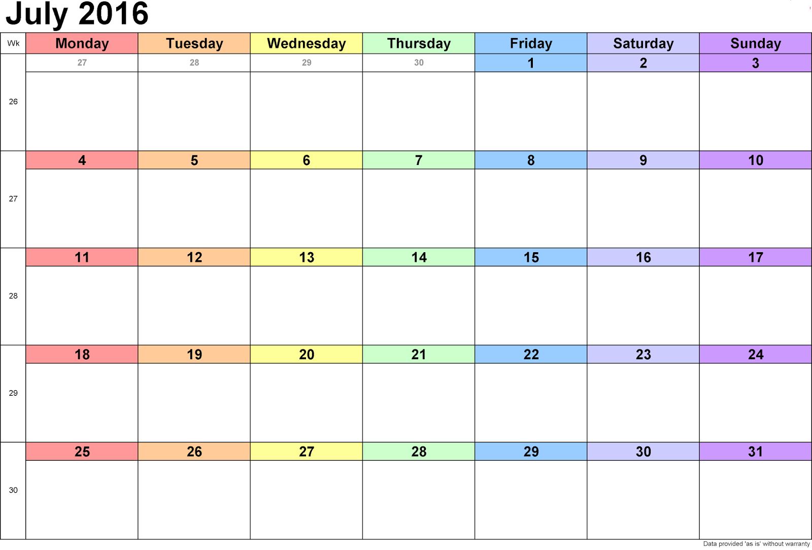 July 2016 Blank Printable Calendar Cute download free, July 2016 ...