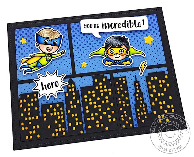 Sunny Studio Stamps: Comic Strip Speech Bubbles Dies Super Duper Cityscape dies Card by Anja Bytyqi