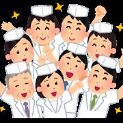 集合している人たちのイラスト(寿司)