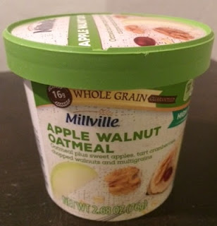 A cup of Millville Apple Walnut Single Serve Oatmeal, from Aldi