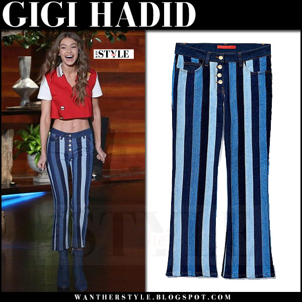 Gigi Hadid in red top and blue striped pants tommy x gigi what she wore