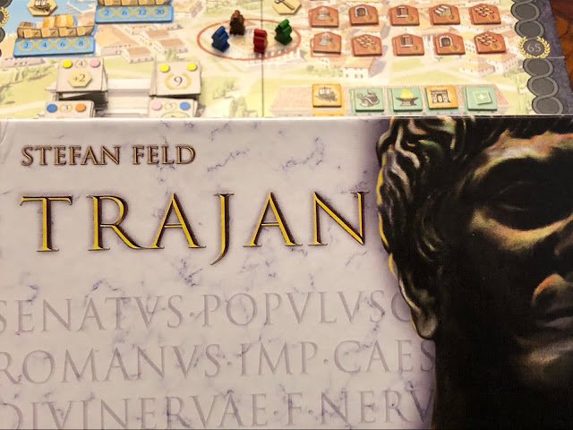 Trajan board game box and board, photo by Benjamin Kocher, board game review