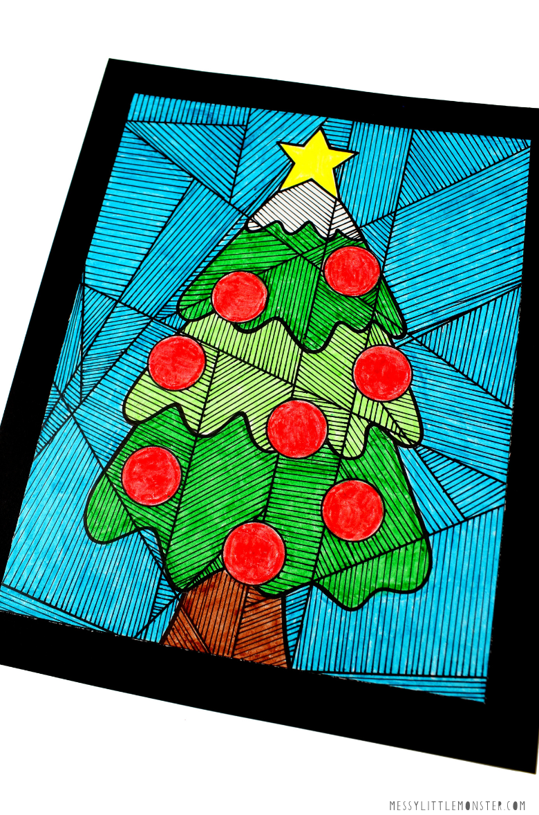 Christmas tree colouring page craft for kids