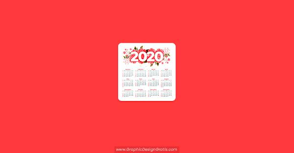 Plantilla calendario 2020 floral de año nuevo