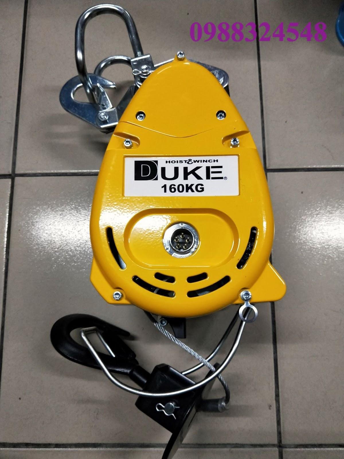 Tời quay cáp điện treo mini Duke DU-160A 160kg