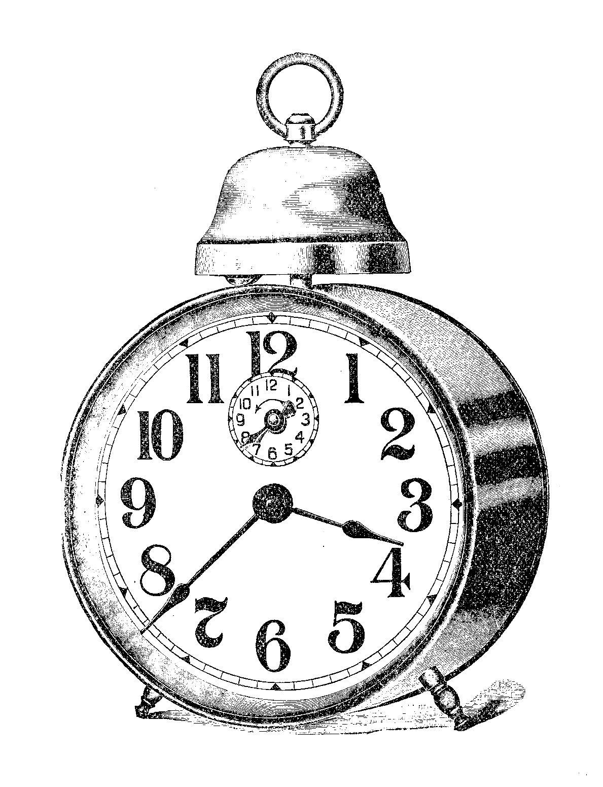 Digital Stamp Design Alarm Clock Vintage Illustration