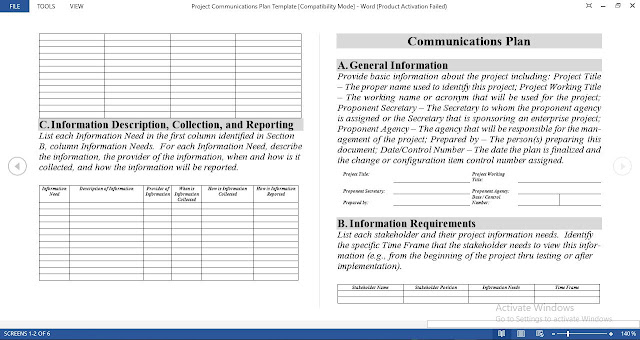 Project Communications Plan Template for Word