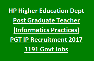 HP Higher Education Dept Post Graduate Teacher (Informatics Practices) PGT IP Recruitment 2017 1191 Govt Jobs Notification