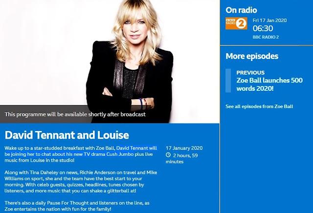 David Tennant on The Zoe Ball Show on BBC Radio Two - Friday 17th January 2020