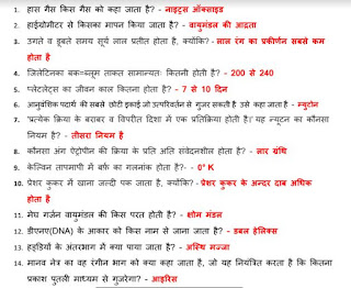 General Science Questions and Answers One Liner Hindi