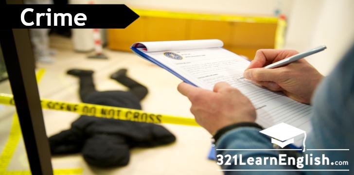 ESL vocabulary - crime and people: prison, jail, murder, gun, weapon, court, jury, judge, witness, kidnap, hijack,... 321LearnEnglish.com