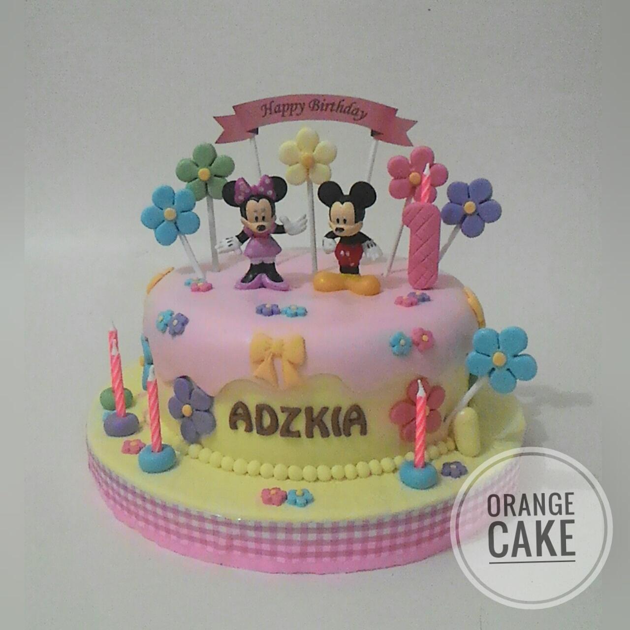 Orange Cake Minnie N Mickey Birthday Cake For Adzkia