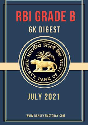 RBI Grade B GK Digest: July 2021