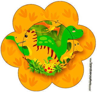Tarjeta con forma de flor de Fiesta de Dinosaurios.