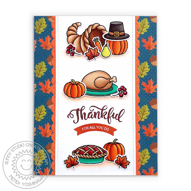 Sunny Studio Blog: Thankful For all You Do Thanksgiving Themed Handmade Fall Card with Pumpkins, Pie and Turkey (using Bountiful Autumn Stamps, Slimline Basic Border Dies & Colorful Autumn Paper)