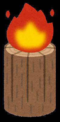丸太ストーブのイラスト(火)