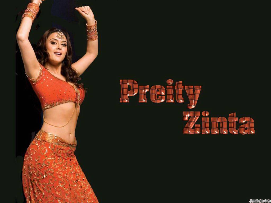Hot Indian Actress Preity Zinta Hot Sari, Half Sari Photo -8190