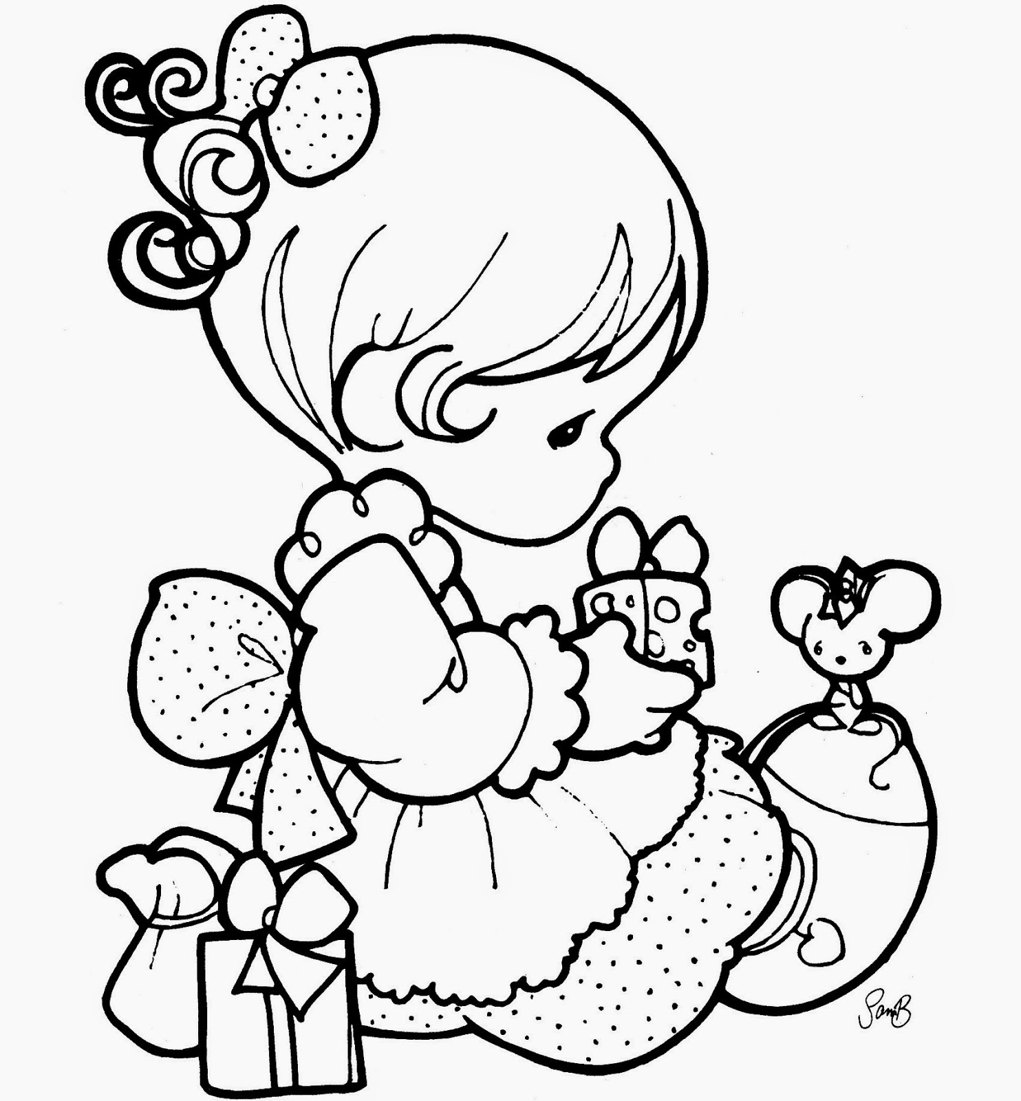 Beautiful precious moments girl coloring page for kids of a cute cartoon colour drawing hd wallpaper