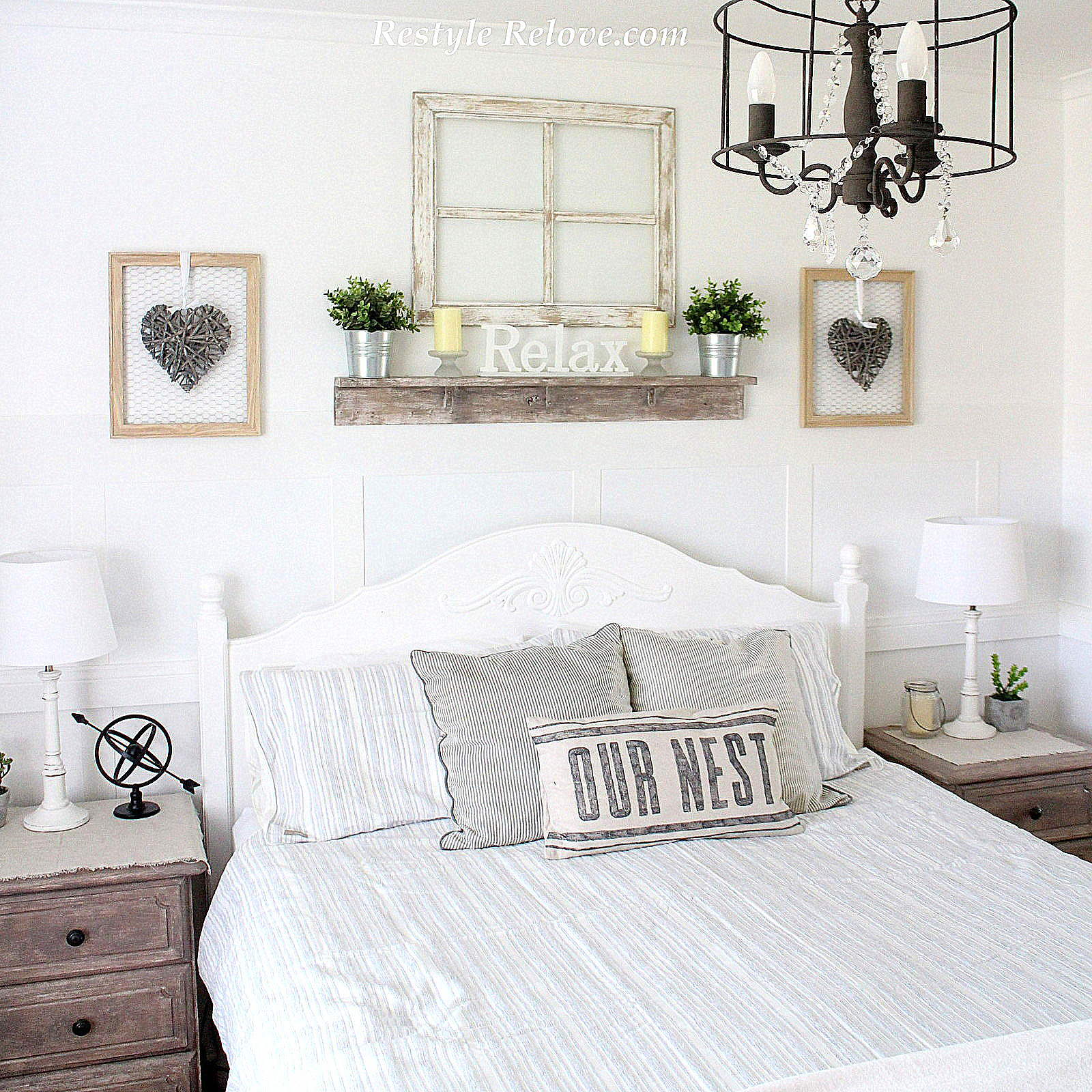 Love Note White Rustic Farmhouse Master Bedroom Makeover