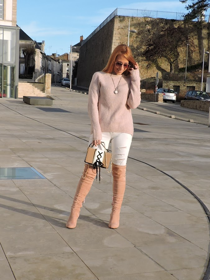the pink over knee boots