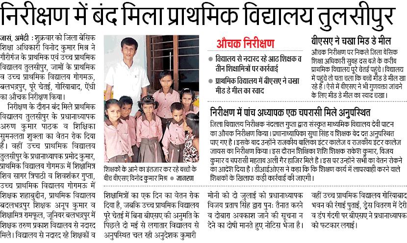 निरीक्षण में बंद मिला प्राथमिक विद्यालय तुलसीपुर