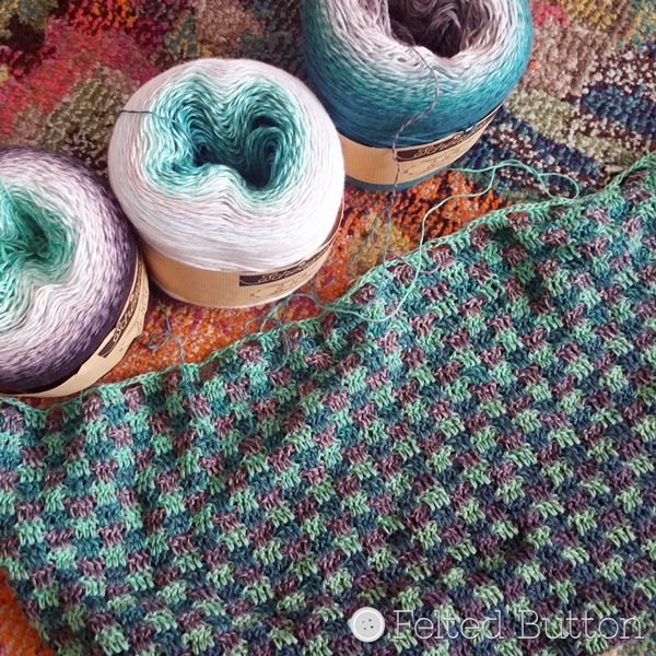 Scheepjes Whirl -- Minty Black Velvet, Sea Breeze Tease and Green Tea Tipple with WIP of Felted Button Trio Blanket (free crochet pattern coming soon)