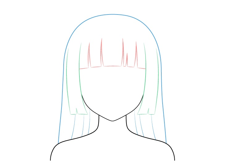 Menggambar Rambut Anime yang Dipangkas (Potong Hime)