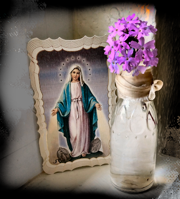 virgin mary holy card with sand verbena purple
