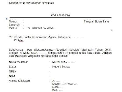 Berikut Contoh Surat Permohonan Akreditasi download dibawah ini :