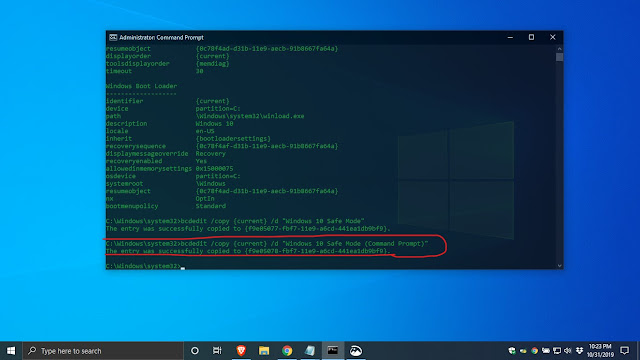 How to add safe mode on boot menu windows 10