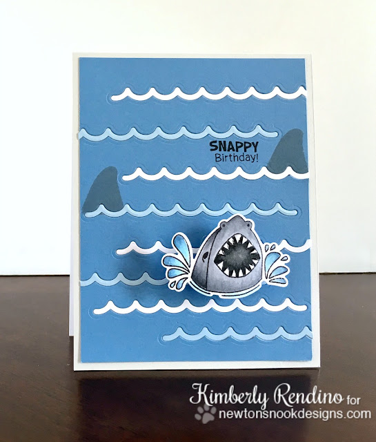 shark | shark week | newton's nook designs | snappy birthday | handmade card | papercraft | cardmaking | clear stamps | kimpletekreativity.blogspot.com