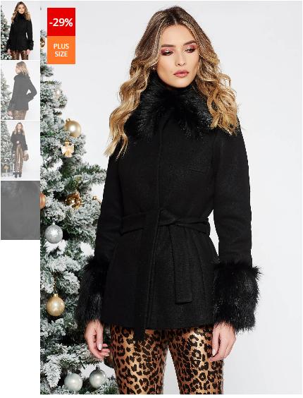 Palton scurte de iarna negru elegant scurt cu croi larg din lana captusit pe interior accesorizat cu cordon