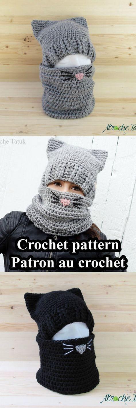 6acb3702d677c Cómo tejer una adorable capucha crochet con orejas de gato
