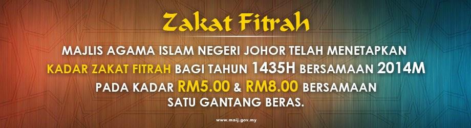 Kadar Zakat Fitrah 2014 / 1435 Bagi Negeri Johor