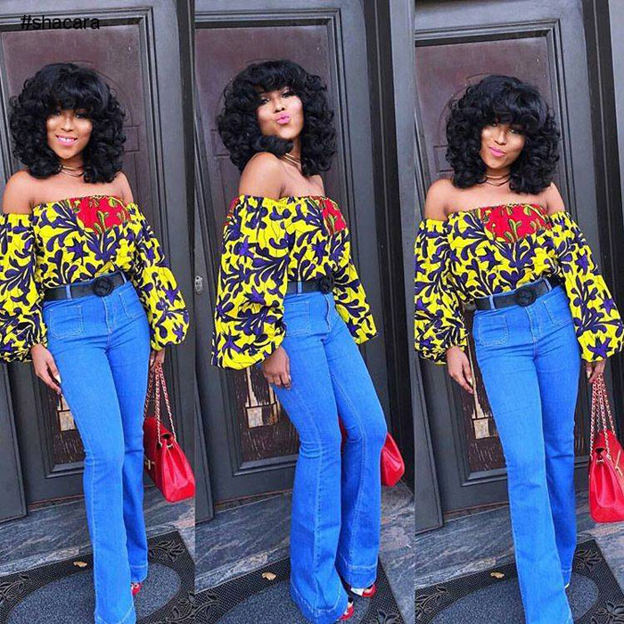 simple ankara jeans and crop top style
