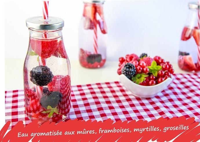 eau aromatisée, fruits rouges, verveine citronnée, citron