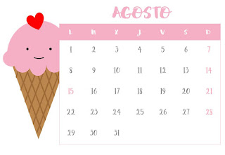 Calendario agosto horizontal