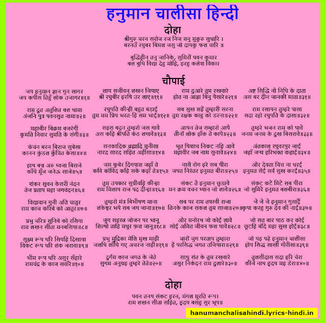 Hanuman Chalisa in Hindi Image