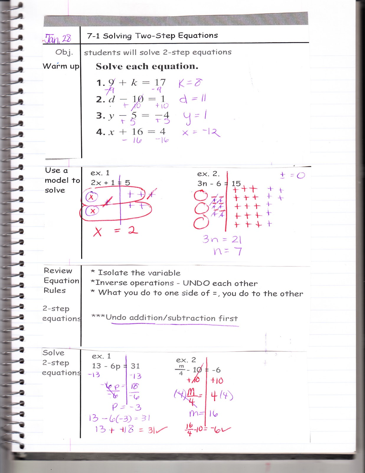 Ms Jean S Classroom Blog 7 1 Solving Two Step Equations
