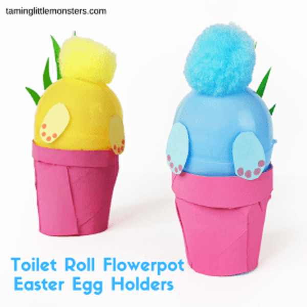 Bunny butt craft using toilet paper rolls and plastic easter eggs