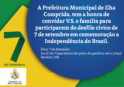 Ilha comprida convida a população para o desfile cívico de 7 de setembro