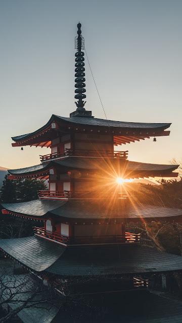 HD wallpaper pagoda, volcano, sunset, city