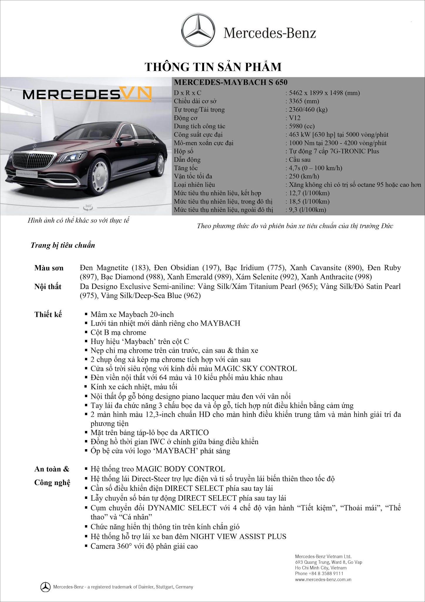 Bảng thông số kỹ thuật Mercedes Maybach S650 2021