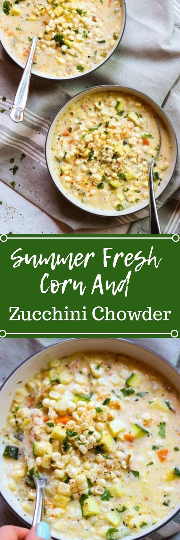 SUMMER FRESH CORN AND ZUCCHINI CHOWDER #vegetarian #vegan #whole30 #cauliflower #yummy