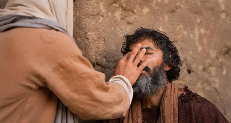 Jesus fez lodo com a saliva e curou o cego de nascença