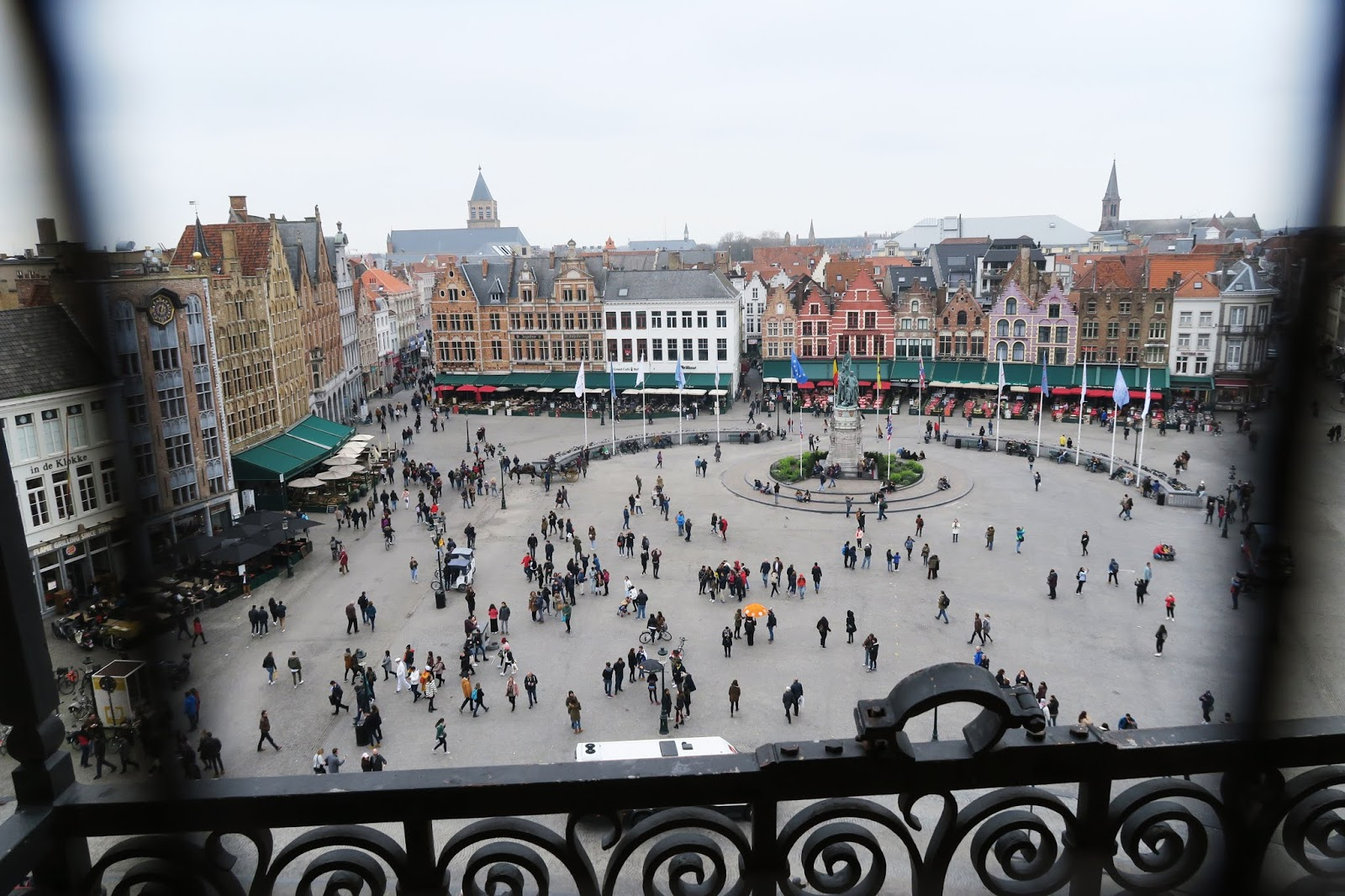 View from the first floor of the Belfry of Bruges. Bruges Market square can be seen below.