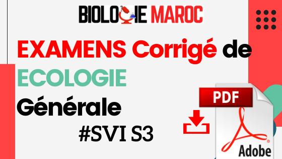 EXAMENS de Ecologie générale I SVI S3 - PDF à télécharger